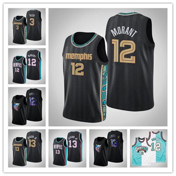 Mujeres personalizadas para hombre MemphisGrizzlies12 ja Morant 13 Jaren Jackson Jr. 2020-21-Black Swingman Throwback Basketball City Jersey