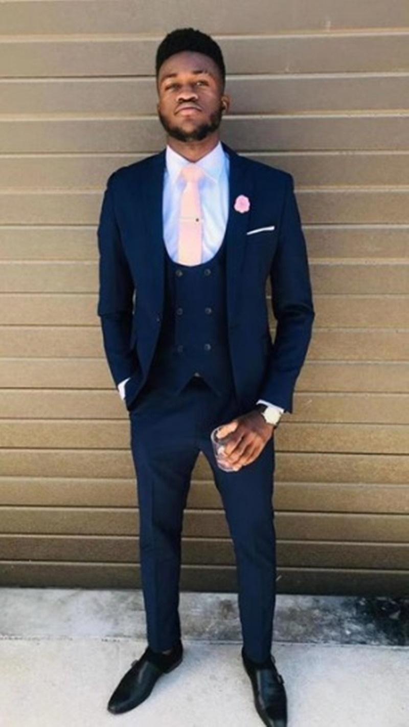Classic One Button Groom Wedding Peak Lapel Men Muits Mens Wedding Suits Tuxedo Costumes De Pour Hommes Men(Jacket+Pants+Tie+Vest) W725