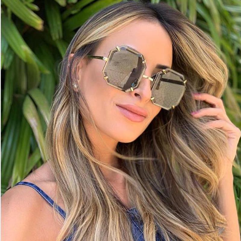 Vintage cuadrado hembra gafas de sol de gran tamaño marca de moda de lujo gafas de sol mujeres 2019 rojo claro sombras x0125