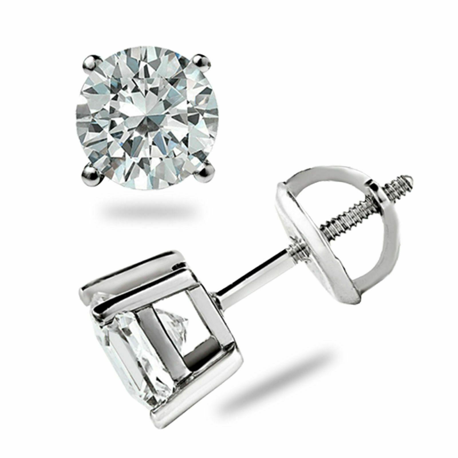 1.11 CT Rodada Lad Diamond Engagement Brincos 14k Branco banhado a ouro brinco para ela
