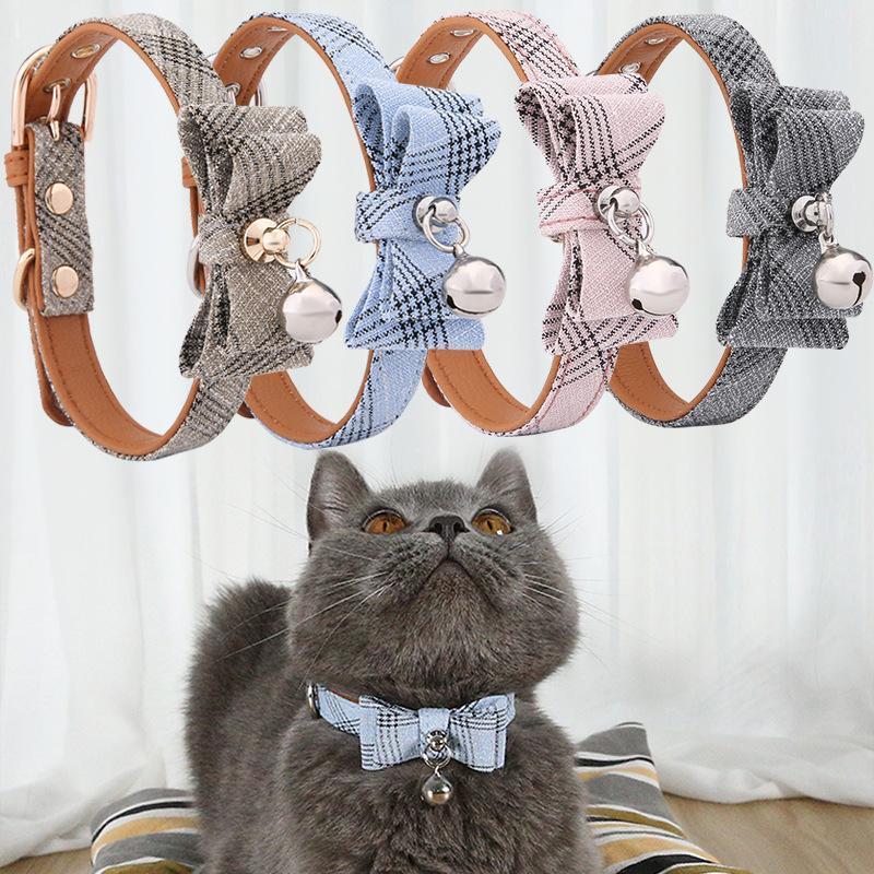Cuello del gato Transpirable Ajustable Lindo Bow Girl Necktie con campanas para pequeños perros medianos Cats Collar de mascotas para perros