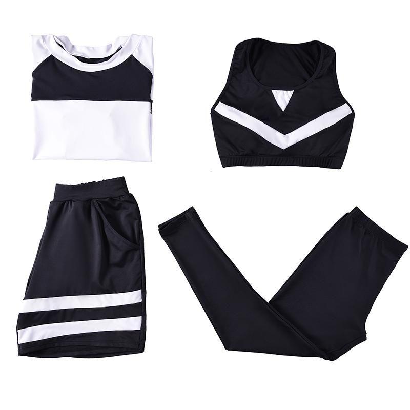 Verzy женщины 4 шт. Йога набор бюстгальтер + леггинсы + шорты + футболка с сеткой L-4XL плюс большой размер сплошной лоскутный отдых на открытом воздухе