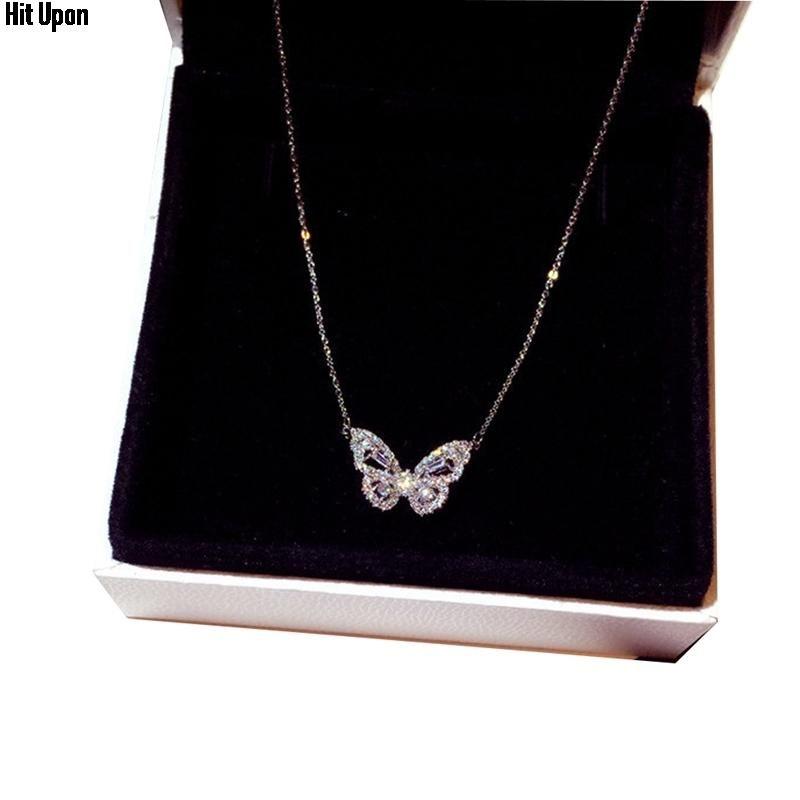 Collane pendenti in oro rosa temperamento intelligente collana farfalla femminile zircone luce catena di lusso