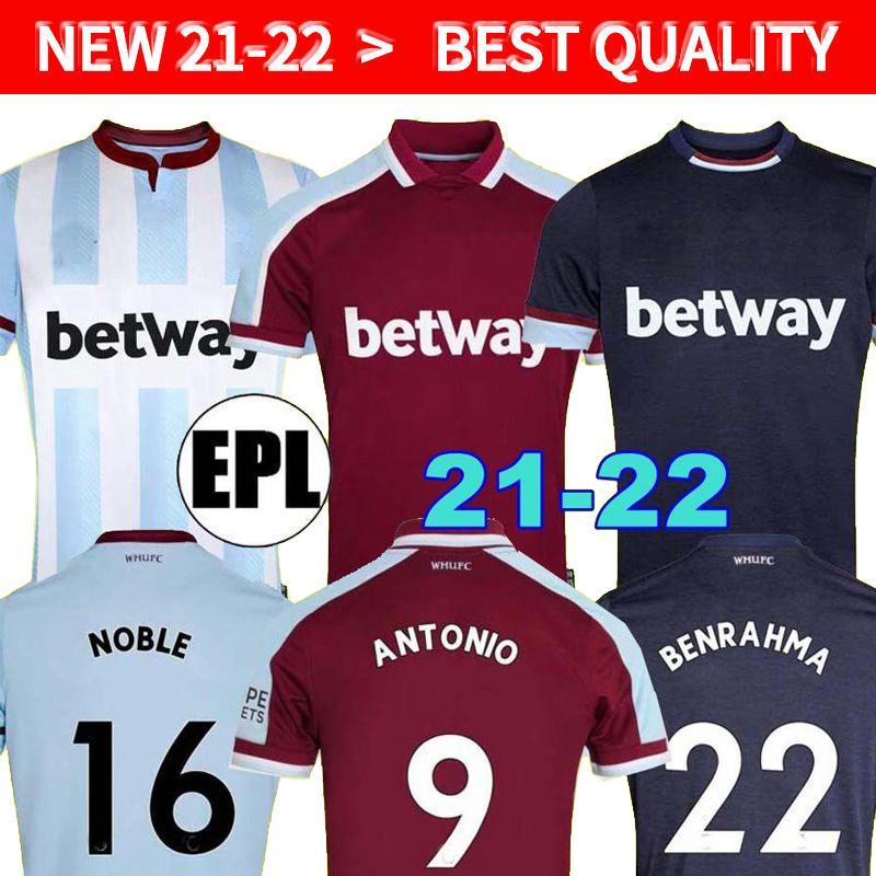 21 22 WEST Fussball Trikots Schinken 2021 2022 United Home Away Yarmenko Lanzini Noble Bowen Antonio Football Hemd von Rice Herren + Kids Kit Set Jersey Soucek Benrahma