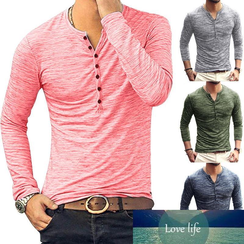 Oeak Hot Men Heenley T-рубашки Простой Сплошной с длинным рукавом Дизайн Тонкий Кнопка Топы Повседневная Мода Весна Осенние Топы TEE