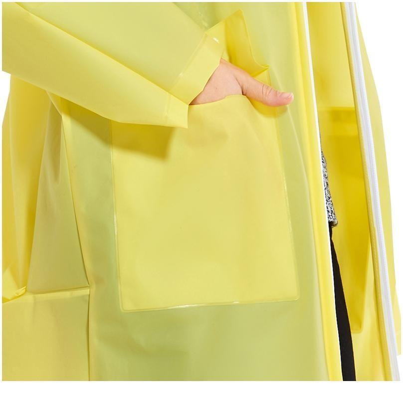 Four Colors High Quality Waterproof Plastic Eva Zipper Long Men Women Raincoat Hooded Ladies Backpack Pocket Rainwe jllWIM