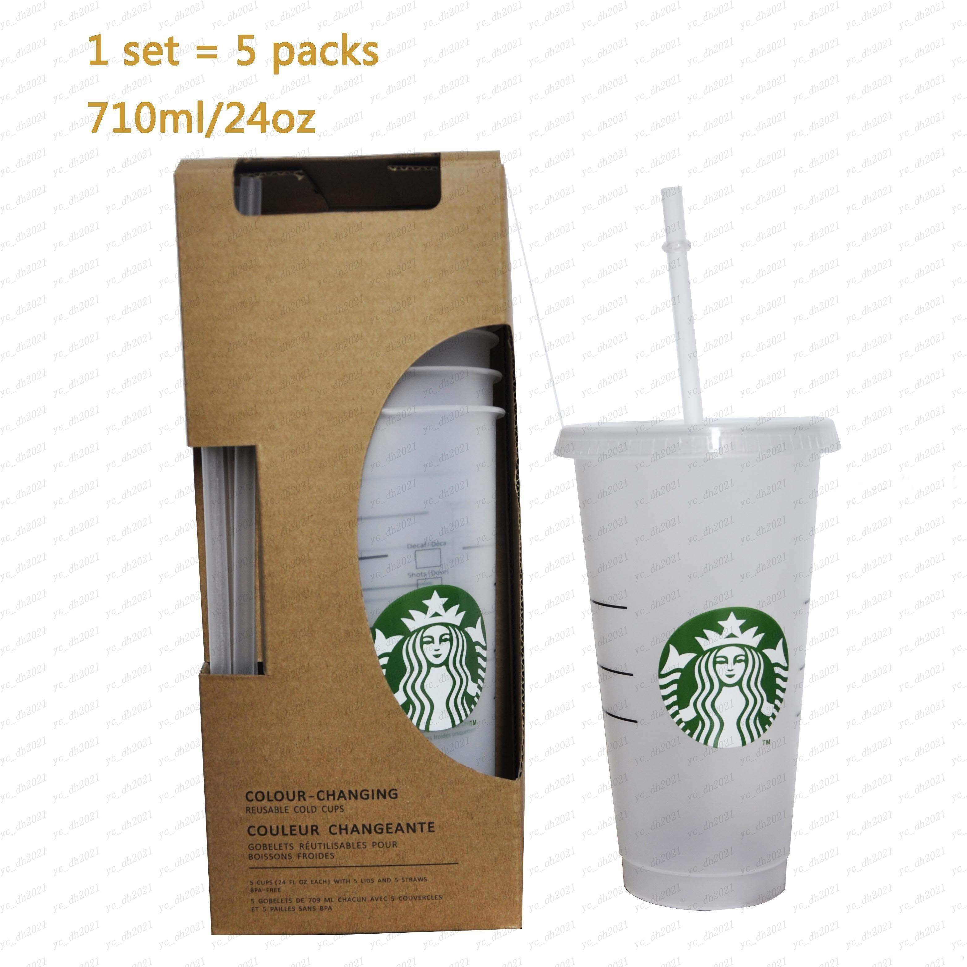 1 مجموعة = 5 قطع 24 أوقية أكواب من البلاستيك الشفاف أكواب عصير التي لا تغير لون كأس المشروبات قابلة لإعادة الاستخدام أكواب ستاربكس مع الأغطية والقش القهوة