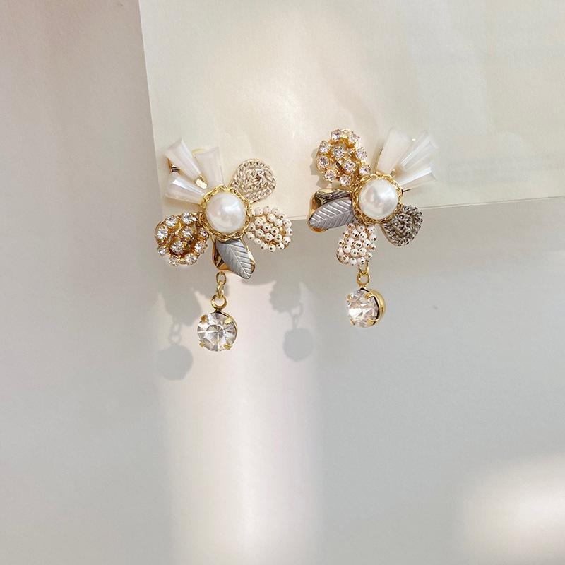 Charme jóias pura ouro banhado a agulha de prata pérola brincos conjunto com diamante coreano cristal flor par presentes para namorada