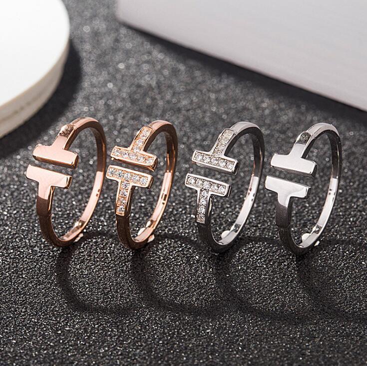 Mode Hot Love Schmuck S925 Sterling Silber Ringe Für Frauen Open Diamond Ringe Rose Gold Buchstabe T Stil Ehering Ring