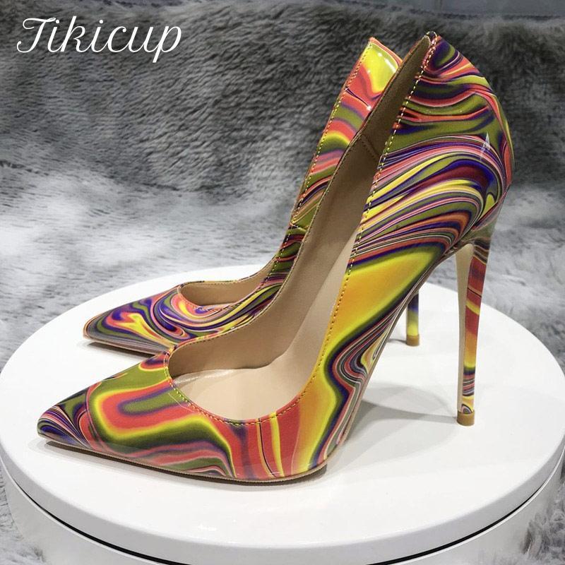 Tikicup Kunst Malerei Gedruckt Frauen Partente Stiletto High Heels Anpassen Mode Pumps Chic Damen Party Schuhe Plus Größe 33-45