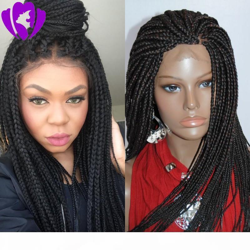 Длинная полная плотность черно-коричневые плетеные парики с детскими волосами термостойкие волосы Micro косы синтетические кружева передний парик для чернокожих женщин