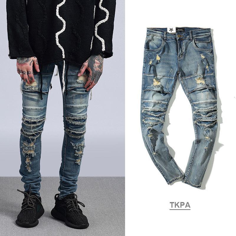 Mode branché gates jeans hiphop roche lave-linge vêtements vieux genoux mes pieds tranchés pieds broek hommes denim pantalon
