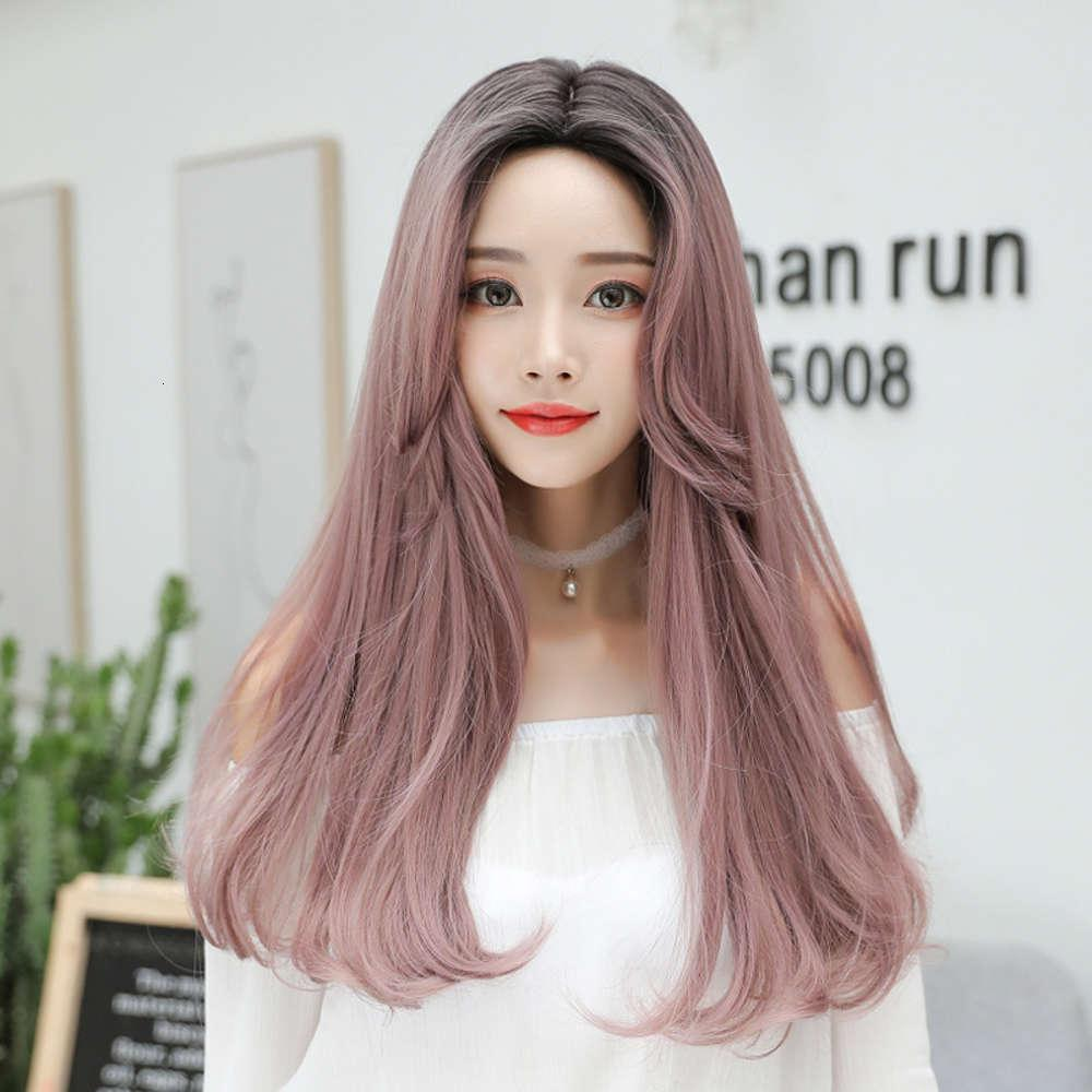 Neue Perücke Damen Lange Gerade Haar Mode Birne Blume Kopf Multi Farbe Perücke Kopfbedeckung