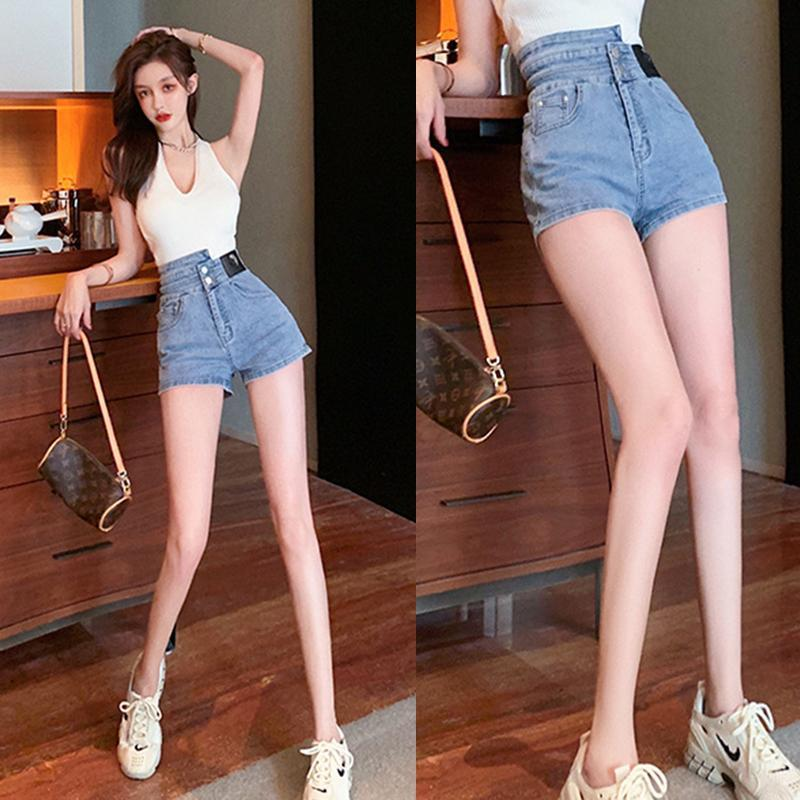 Женские джинсы Корейский джинсовый джинсовый короткий тонкий универсальный мода A-Line высокая талия брюки шорты приливы 2021 лето