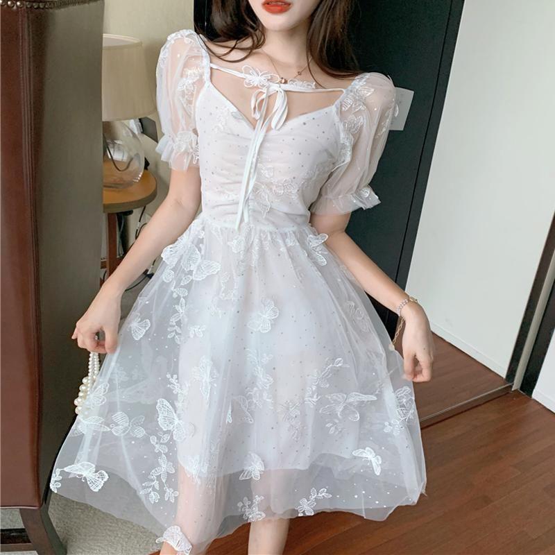 Повседневные платья Люкаевея Элегантное белое платье для женщин Летние сексуальные кружевные линии Тюль с коротким рукавом вечеринка MIDI роскошные туники женские Vestido