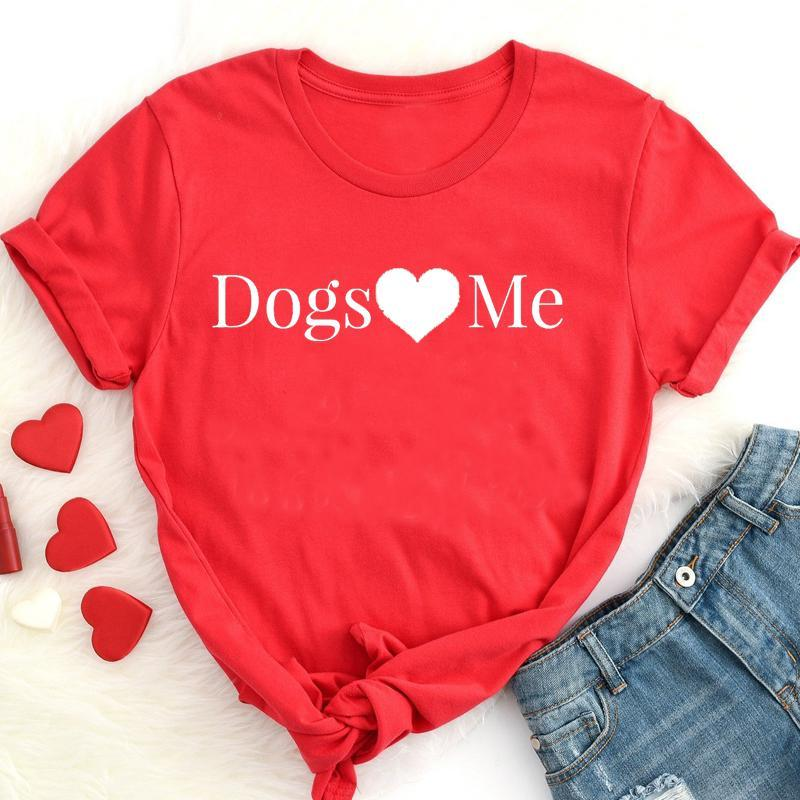 Women's T-Shirt Dogs Love Me Graphic Mom Mama Shirt Funny Kawaii Cotton Women Tshirts Plus Size Casual Mother Clothing Short Sleeve Lady Tee