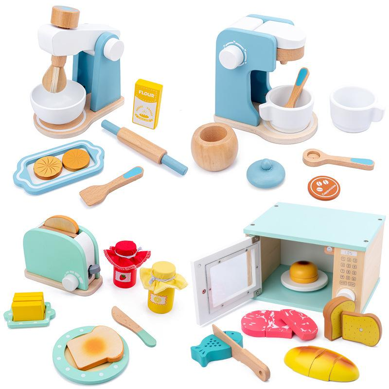 Holzküche Talend Play Spielzeug Simulation Holz Kaffeemaschine Toaster Machine Food Mixer Baby Früheres Lernen Pädagogische Spielzeug 210308