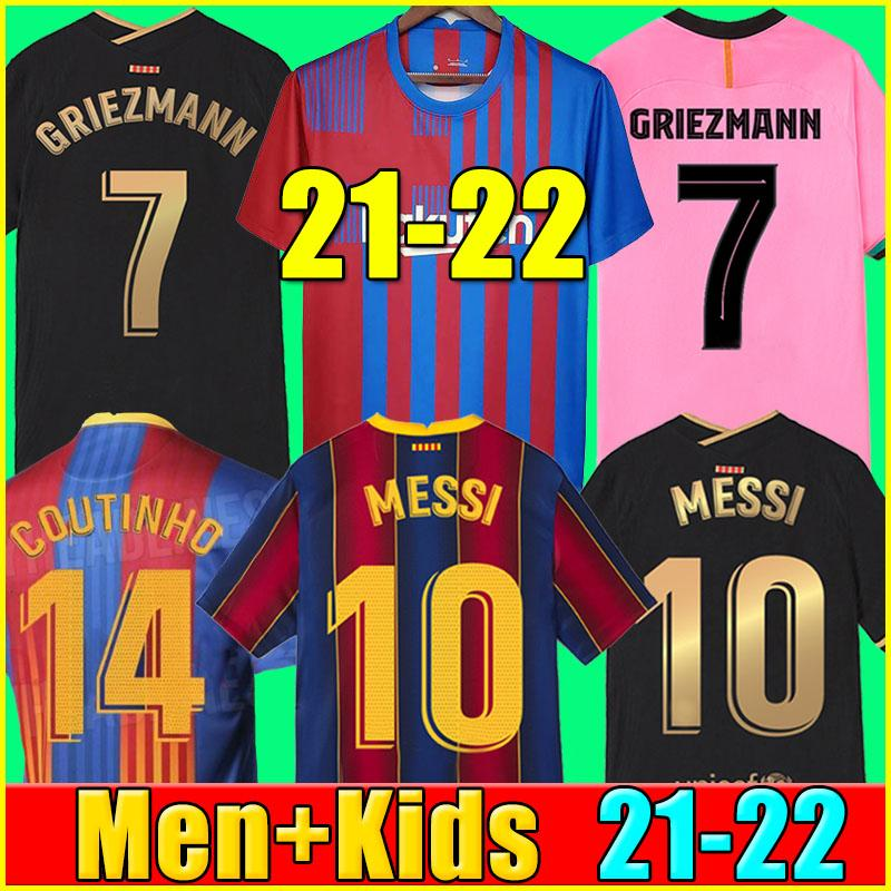 21 22 FC 바르셀로나 축구 유니폼 BARCA camiseta de futbol KUN AGUERO ANSU FATI 2021 2022 MESSI GRIEZMANN F.DE JONG DEST COUNTINHO 축구 셔츠 키트 남성 + 키즈 세트 양말