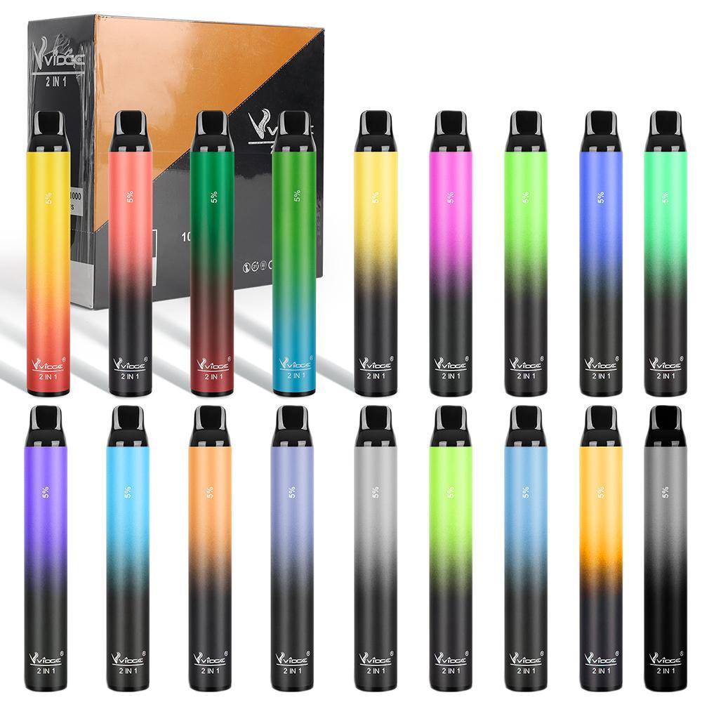 2 in 1 tek kullanımlık vape kalem 950 mah pil 1000 + 1000puffs 8ml tek kullanımlık e-sigaralar xxl puf barı artı vidge