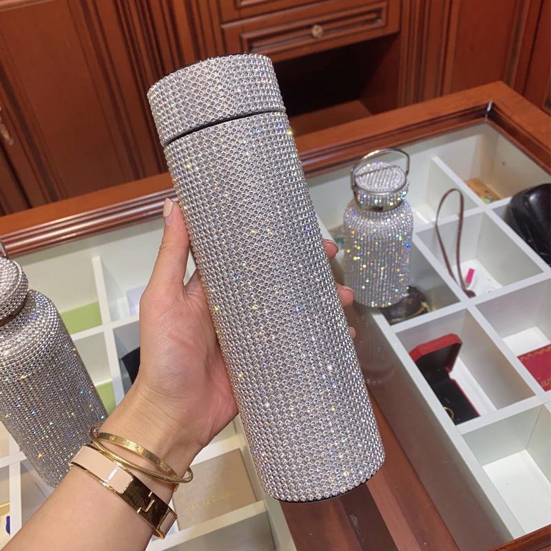 500 ml creativo diamante thermos bottiglia bottiglia d'acqua bottiglia in acciaio inox Smart Temperature Display Aspirablone Boccale Dono per uomo Donne 252 S2