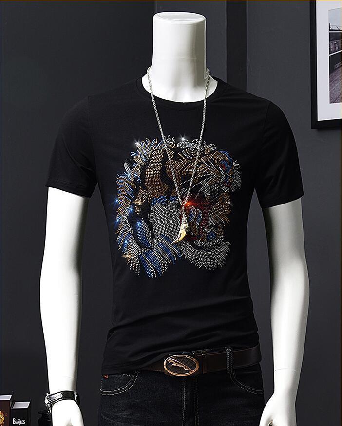 2021 новый плюс размер горячего сверления футболки мужские бренды с коротким рукавом мода улица o шеи тонкий футбол человек подарки JTSC