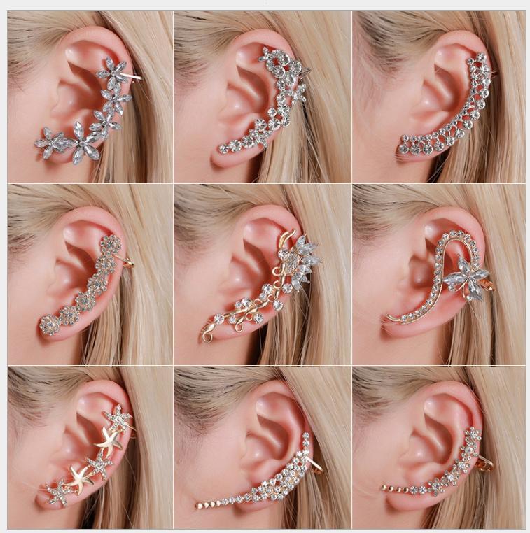 Boucles d'oreilles européennes pleines de fleurs de papillon diamantées boucles d'oreilles à la fois cristal hipsters hipsters clip oreille
