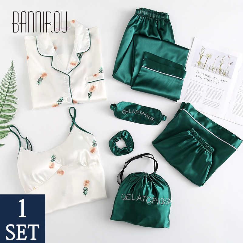 Bannirou ev mayolar elbise kadın pijama baskılı kadın pijama lingerie set bahar evyen kadın pijama setleri 7 adet