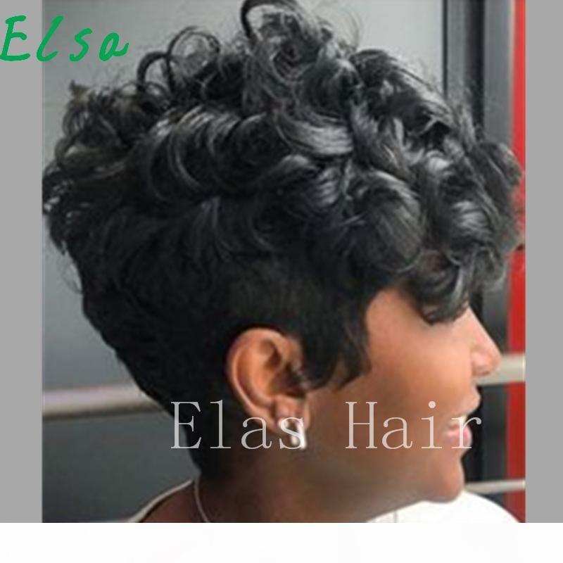 Petits perruques de cheveux humains naturels courts courtes bouclés noir pixie coupé perruque cheveux Human Cheveux humains Aucun perruque de dentelle pour femmes noires