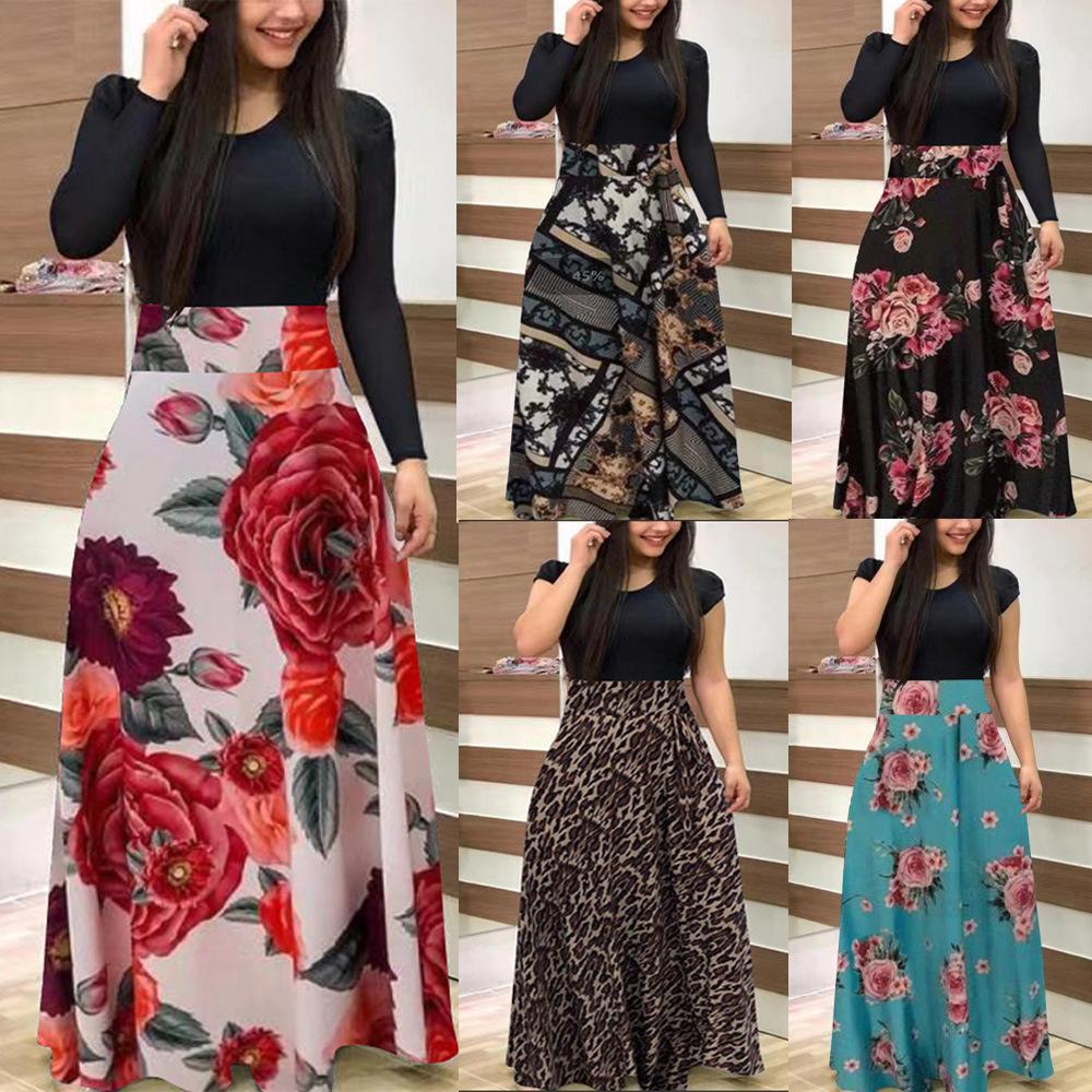 새로운 S-5XL 플러스 사이즈 숙녀 짧은 소매 긴 소매 꽃 Boho 여성 파티 Bodycon Maxi 드레스 의류