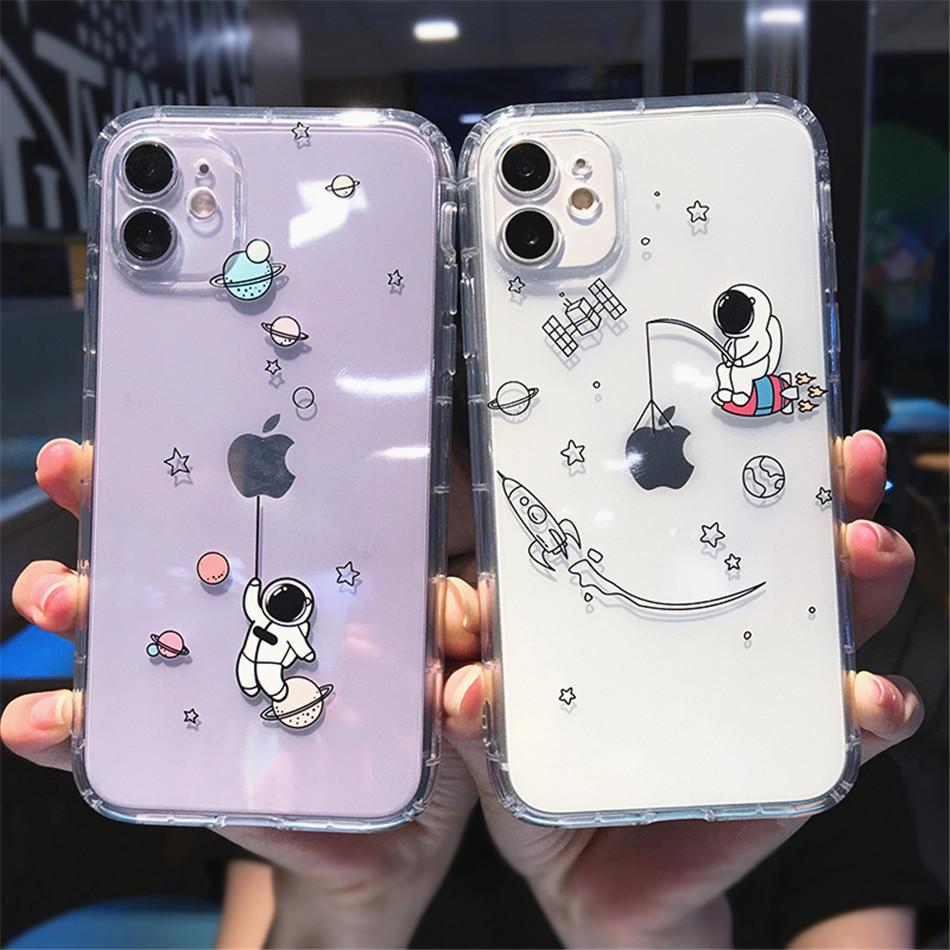 2021 New Cute Cartoon Planet Star Space Phone Case For iPhone 11 12 Pro Max 12Mini X XS XR 7 8 Plus Transparent Soft TPU Shockproof Cover