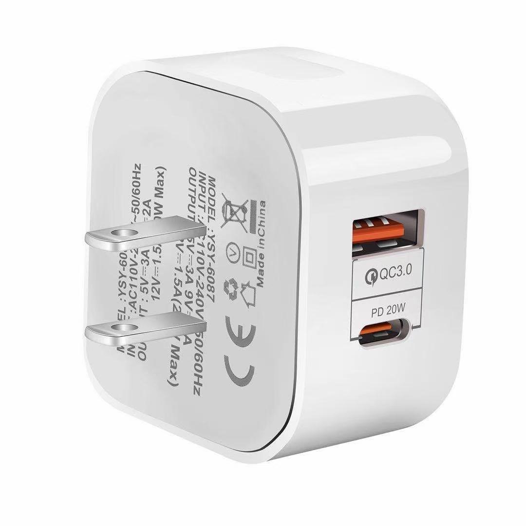 USB C 20W 벽 충전기 실제 CE 유형 C PD 및 QC 3 iPhone EU에 대한 빠른 충전 모든 전화 충전기에 대 한 QC 3.0을 가진 USB 충전기