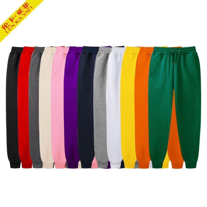 Black Sweatpants uomo moda Pantaloni a colori solidi bianchi rosa spessa pantaloni autunnali elasticizzati in vita sfuso pantaloni casual