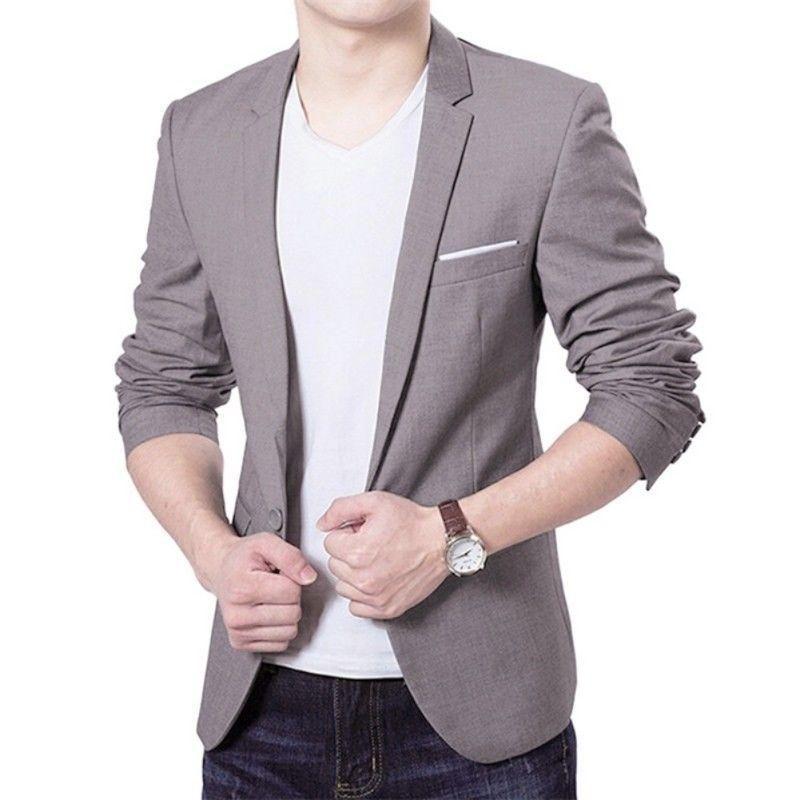 Men's Suits & Blazers Arrival Fashion Blazer Mens Casual Jacket Solid Color Cotton Men Classic Suit Jackets Coats