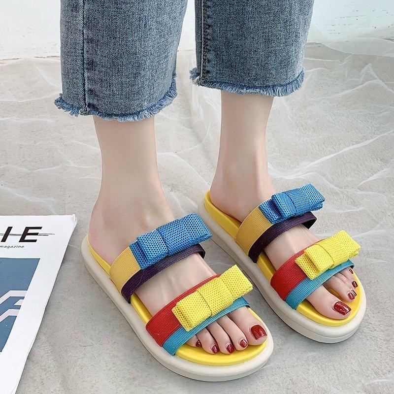 Yaz Plaj Terlik 2021 kadın Ayakkabı Rahat Platformu Çevirme Toe Açık Sandalet Chaussure Ette Femme Zapatillas Mujer