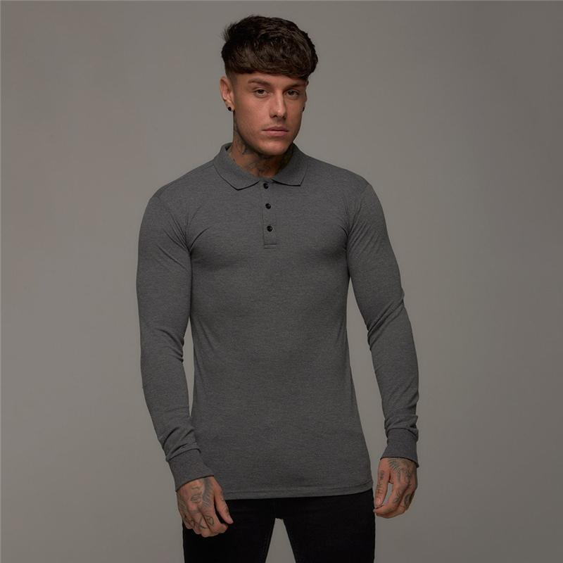 Fashion Mens hirt Long Sleeve Solid Color Shirts Button Slim Fit Turn-Down Collar Autumn Tops Shirt Plus size Blouse