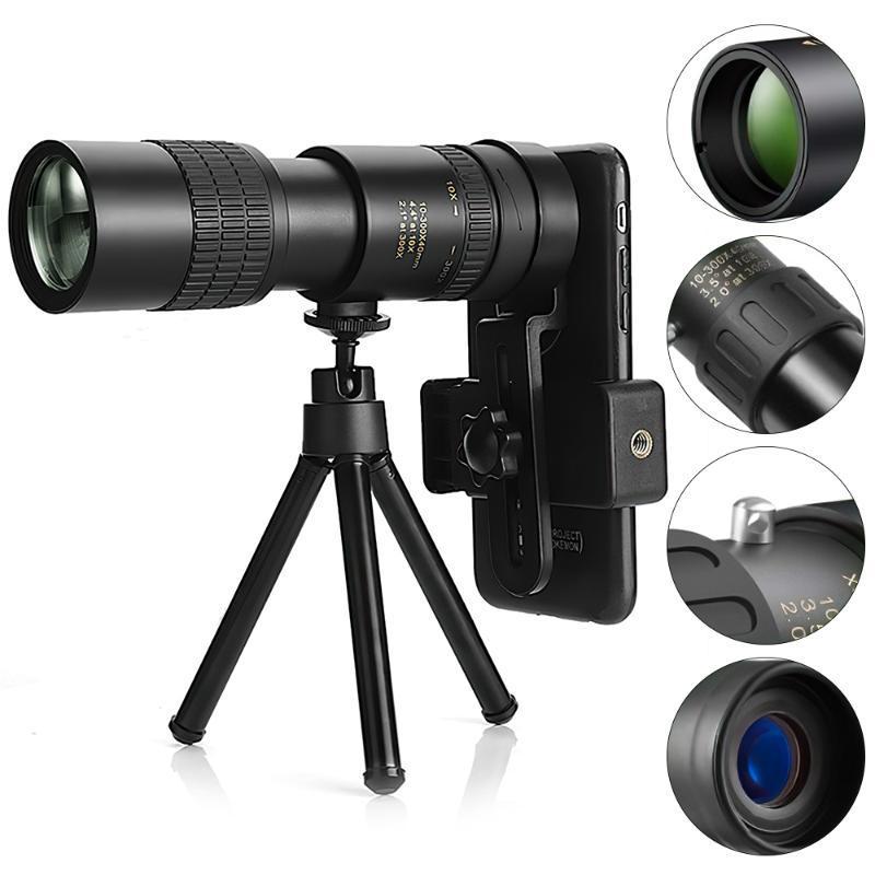 Телескоп бинокль Super Telepo 4k 10-300x40mm Zoom Монокулярно-легкое ночное видение смартфона с изображением для походов