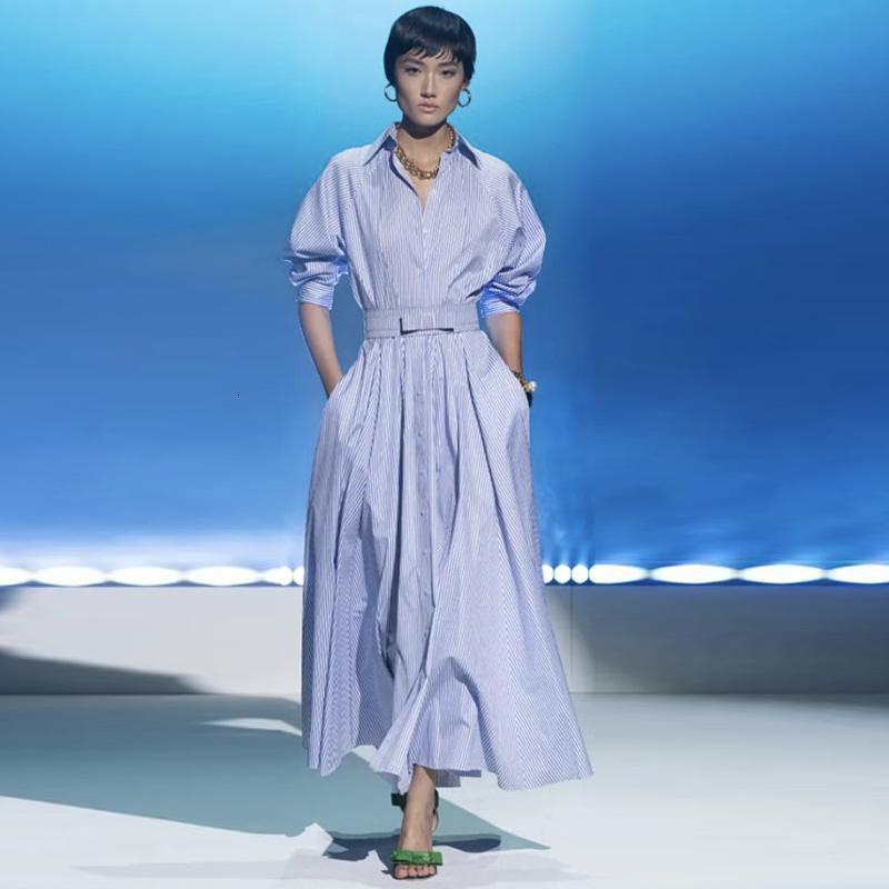Spring New 2021 мода женская лавочка однобортное полосатое печать элегантный пояс тонкий подходит рубашка платье Xisi