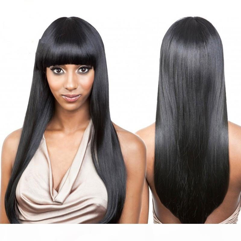 Full lace wigs & lace front wigs 100% Brazilian human hair straight with bangs no shedding with baby hair along the perimeter