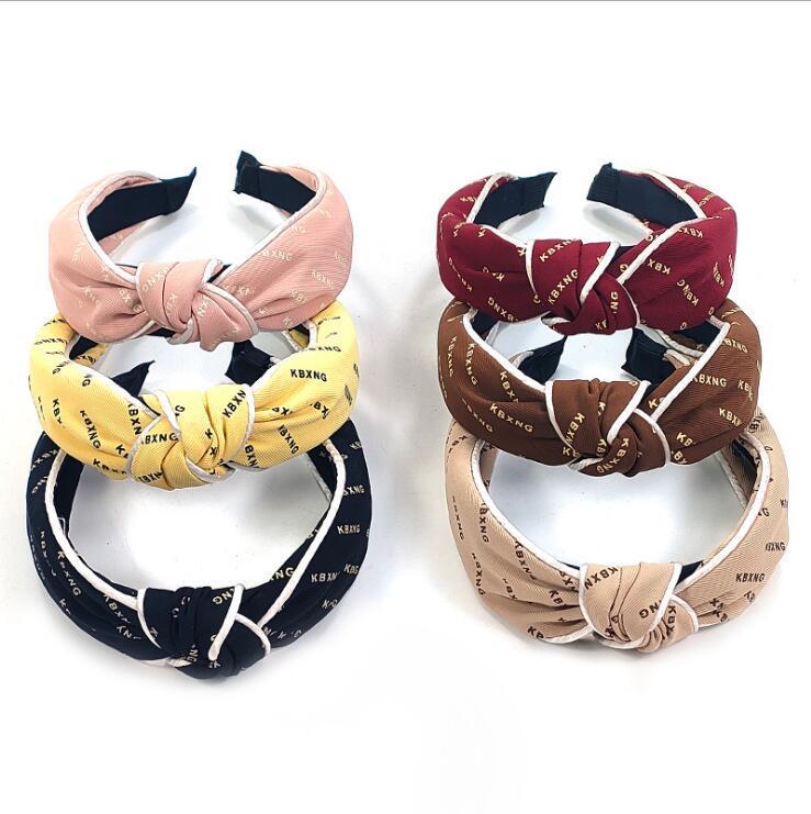 2020 Nova Letra de Moda Candy Color Acessórios para Cabelos Para Mulheres Meninas Bandas de Cabelo Imprimir Headbands Vintage Cross Turbante Lenço Atadura
