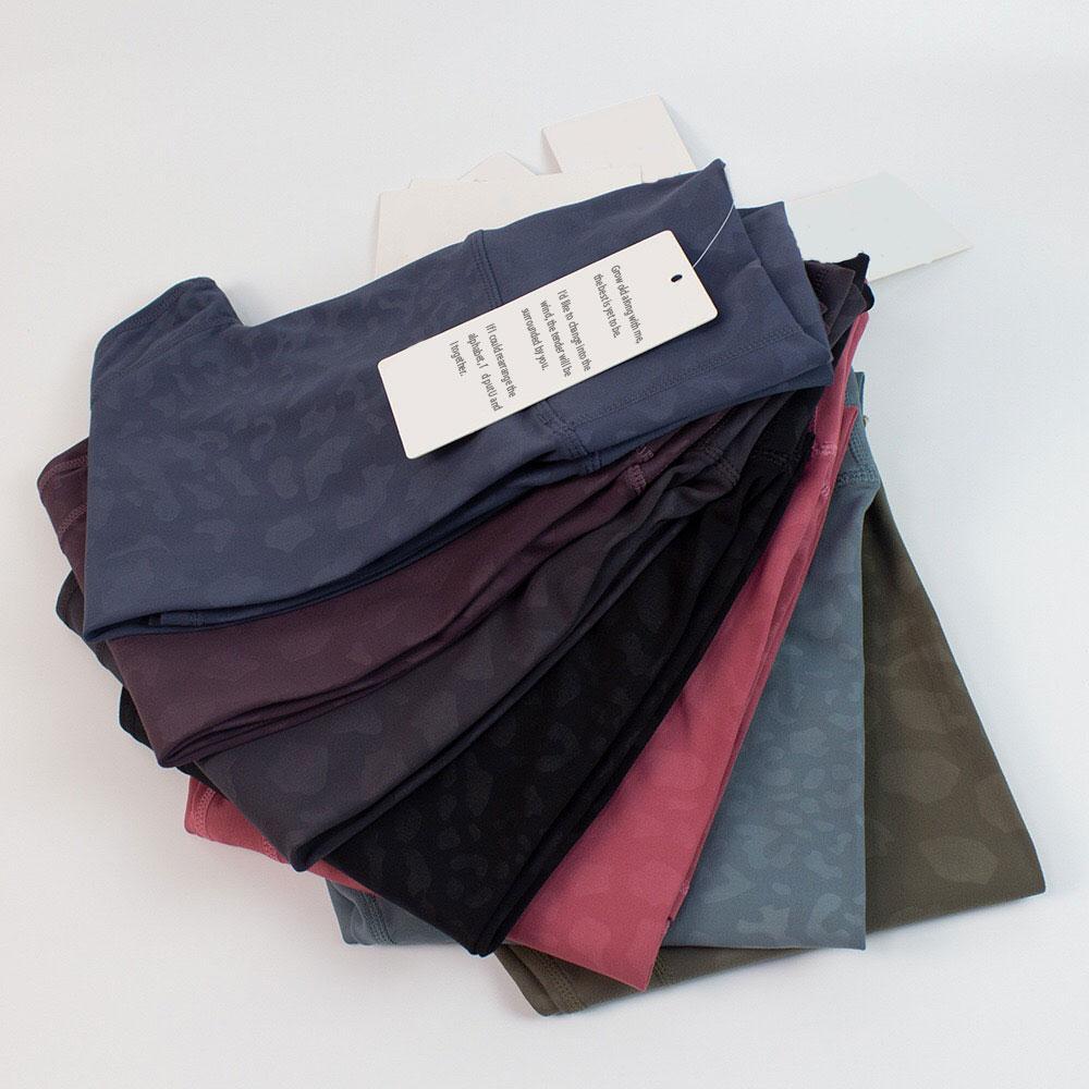 루 요가 착용 피트니스 하이 허리 숙녀 인쇄 바지 양면 샌딩 나일론 러닝 바지 레깅스