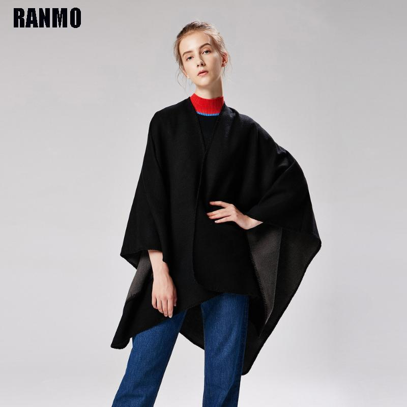 Ranmo 2021 mulher inverno cashmere xales espessamento cobertor quente envolve feminino sólido macio scarf capes