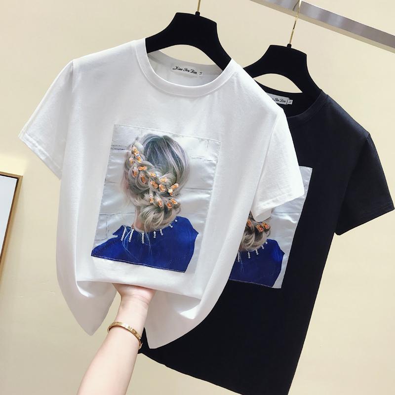 GKFNMT Корея стиль моды футболка женские топы хлопок с коротким рукавом аппликации белые футболки женские летние топ черный футболка 2021 210312