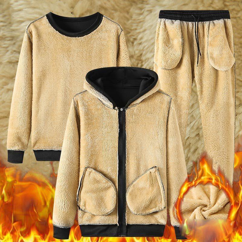 Kış erkek 2021 Siyah Polar 3 Parça Set Kalınlaşmak Sıcak Hoodies Kazak Pantolon + Dış Giyim Setleri Gevşek Rahat Moda Erkek 08QC
