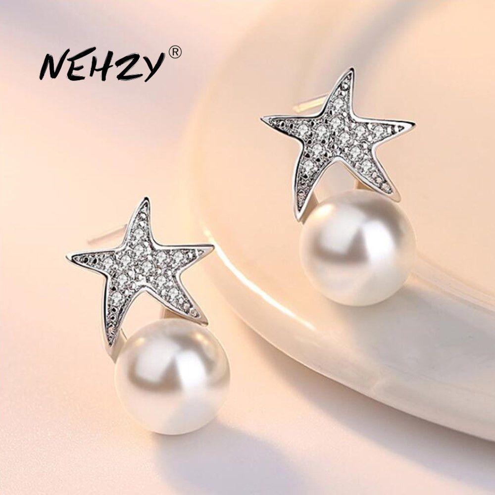 Yutong Nehzy 925 스털링 실버 스터드 귀걸이 고품질 여성 패션 쥬얼리 레트로 간단한 불가사리 진주 크리스탈 지르콘 귀걸이