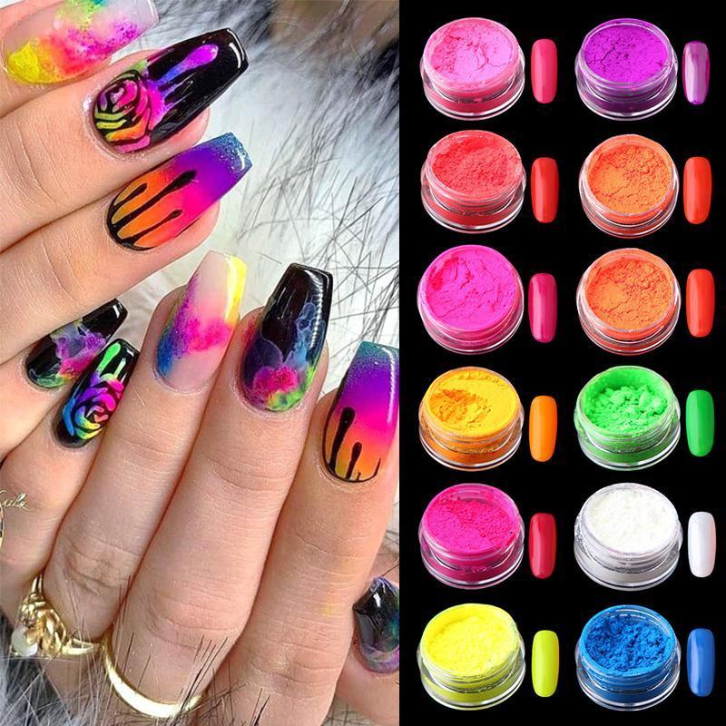 Nail Art Kits 2021 Neon Powder Pigment Set Fluorenscence Spangle Glitter Make Up Shimmer Shining Chrome Dust Decoration