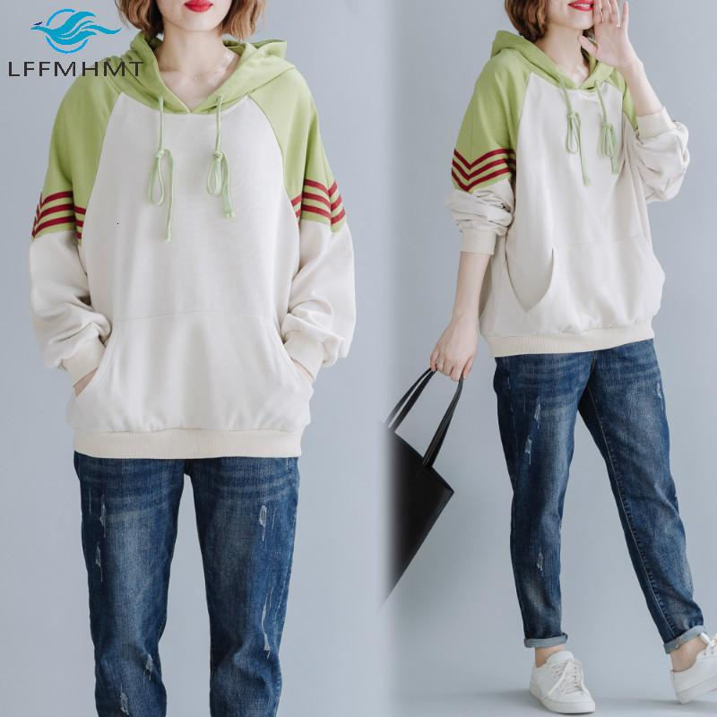 2021 Новые Женщины Мода Контрастный Цвет Корейский Стиль С Длинным Рукавом Негабаритные Толстуры Студенты Сладкие Сладкие Повседневные С капюшоном Осень Топы KPG3