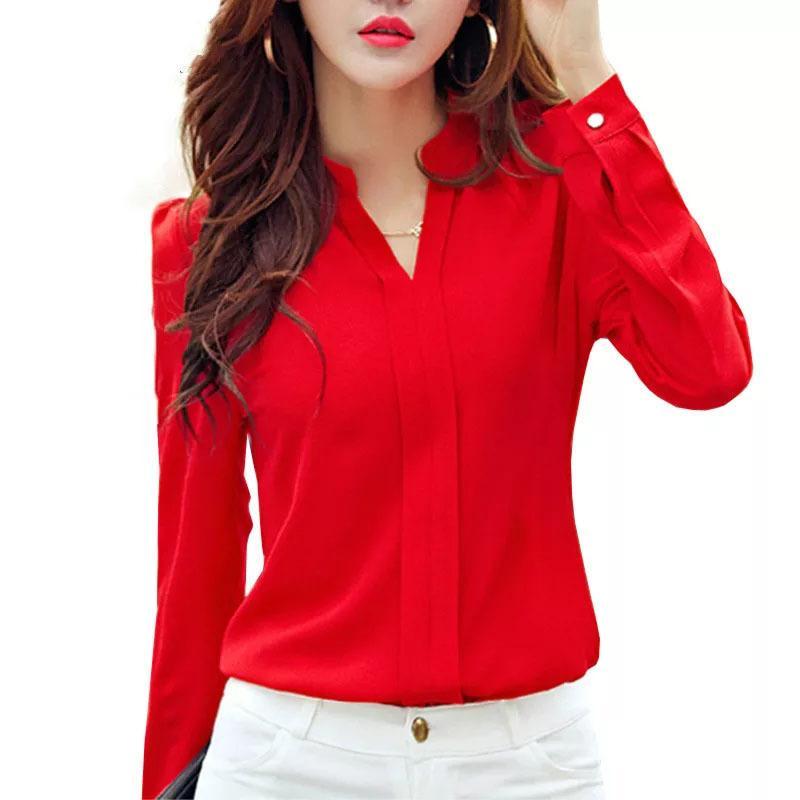 Camicia a maniche lunghe Donne Abbigliamento Autunno Abbigliamento Moda Slim Chiffon Camicetta V Collo coreano Elegante Signore Signore Camicie da ufficio bianco rosso 210303