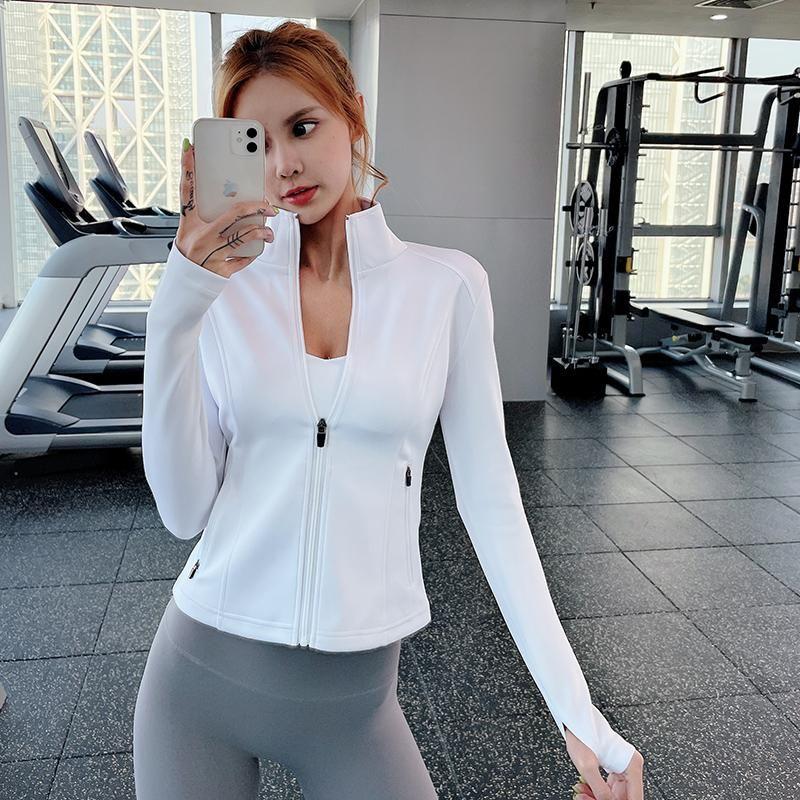 Giacche da corsa 2021 Sport Donne Zipper Gym Yoga Outwear Slim Stand Collar Fitness Training Workout Jogging Abbigliamento sportivo Tops