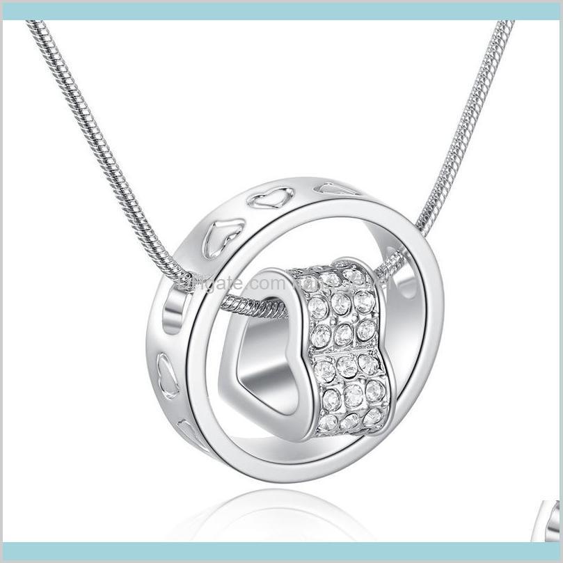 New Austrial Crystal Diamond Heart Heart Collana Collana Strass cuore e anello Charm Charm Catena di serpente per le donne Gioielli di moda in sfusa WCPE IL7RF