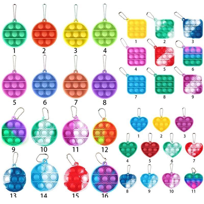 Semplice portachiavi Push Bubble Fidget giocattoli Poppers Decompression Toy Giocattolo Fidgets Catena chiave Anti Stress Board H38NTD8